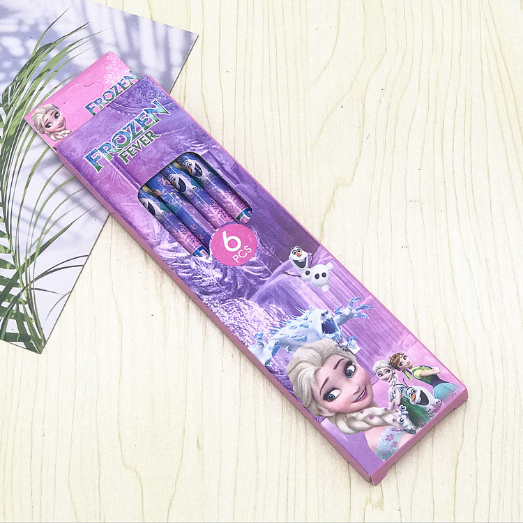 girls Cartoon princess frozen elsa anna Pencils disney boys cars Spiderman Writing Supplies for kids gift