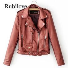Rubilove Autumn Women Leather Jacket Asymmetrical Zipper Korean Style Female Faux Coat Outwear Jackets