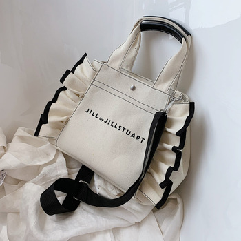 Korean style canvas women handbag large capacity Ruffle design female Shoulder Crossbody bag leisure big totes Casual Travel bag
