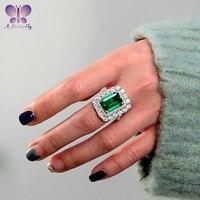 100% 925 Sterling Silber 10x14 MM Smaragd Cut Hohe Qualität SONA Simulation Diamant Weibliche Ring Luxus Schmuck