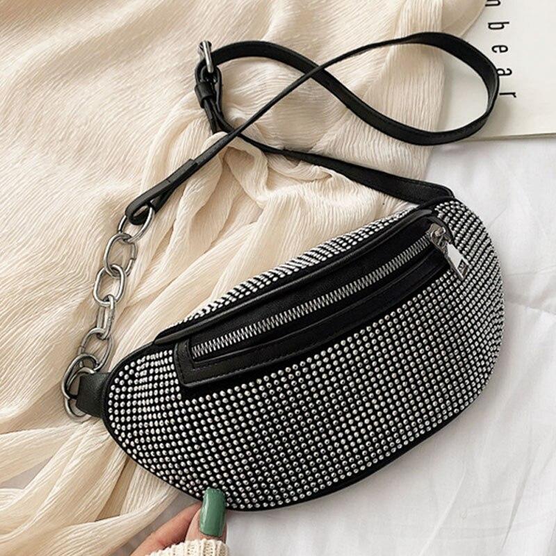 Fashion Women's Waist Bag Fanny Pack 2020 New PU Leather Banana Pack Chest Bag High Quality Diamond Female Belt Waist Packs