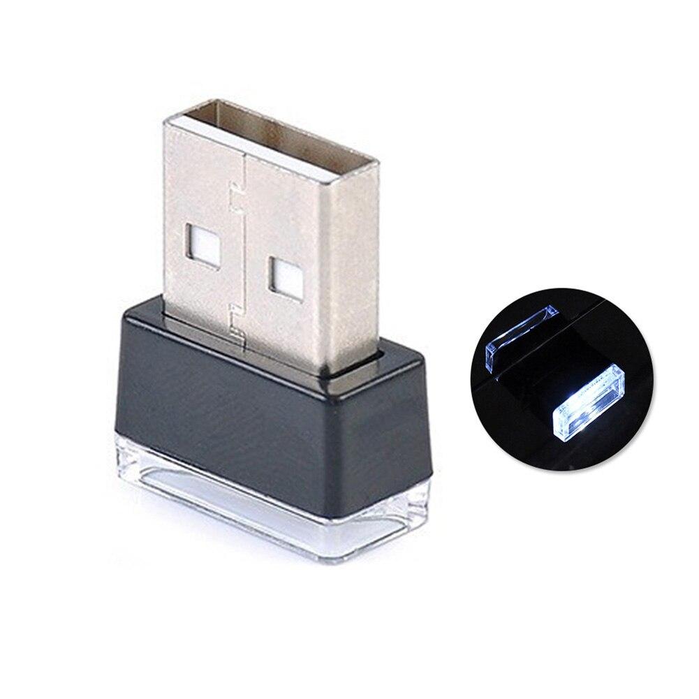 Портативный USB СВЕТОДИОДНЫЙ ночной Светильник для салона автомобиля с внешней атмосферой, декоративная лампа - Название цвета: Белый