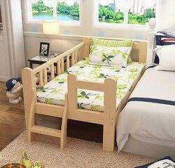Camas de madera maciza para niños con barandilla pequeña mesita de noche para niños individual ensanchamiento y empalme cama para niños