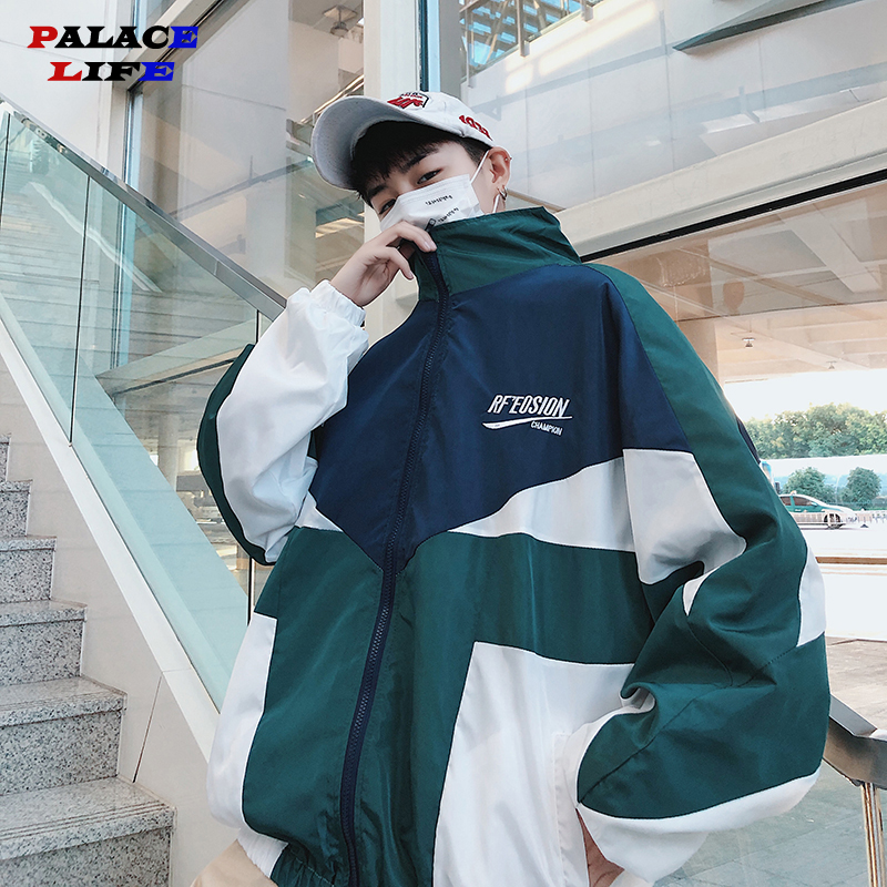 Hip Hop Spring Men's Fashion Hit Color Casual Baseball Uniform Jackets Mens Streetwear Wild Loose Harajuku Bomber Jacket S-3XL