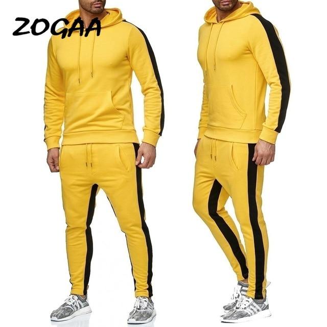 ZOGAA 2019 Men Jogging Hoodie Sweatpants Set Casual Male Pullover Sweat Hoodie + Pants Sports Men's Tracksuit