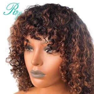 Image 3 - 13x4 invisível 150% 1b30 ombre cor frente do laço perucas de cabelo humano com franja preplucked encerramento encaracolado frontal peruca do laço indiano remy