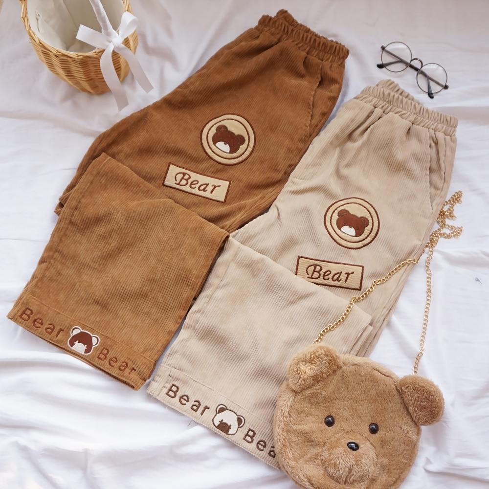 Japanese Autumn Fashoin Preppy Style Women Pants Cartoon Bear Embroidery Corduroy Pants Students Girls Straight casual pants
