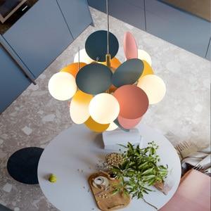 Image 4 - Modern Iron Art Pendant Lights LED Pendant Lamp Lighting Colorful Living Room Bedroom Dining Room Loft Home Decor Light Fixtures