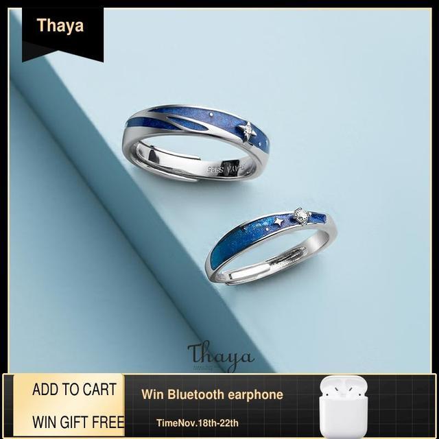 Thaya מקורי עיצוב s925 סטרלינג כסף ערפילית טבעות זוג אופנה טבעות לנשים אלגנטי תכשיטים