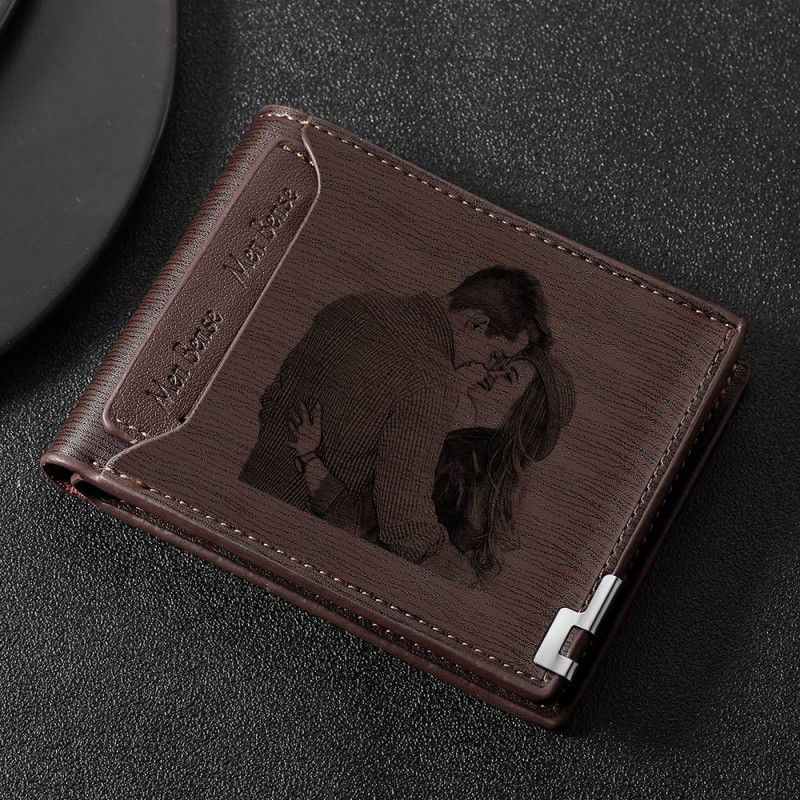 Image 4 - Direct Selling Wallet Mens Custom Pattern Engraving Short Wallet Double Folding Forever Young Wallet Custom Wallets For Men    -