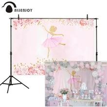 Allenjoy Bloemen Ballet Meisje Fotografie Achtergrond Roze Verjaardag Baby Shower Pasgeboren Achtergronden Voor Foto Photophone