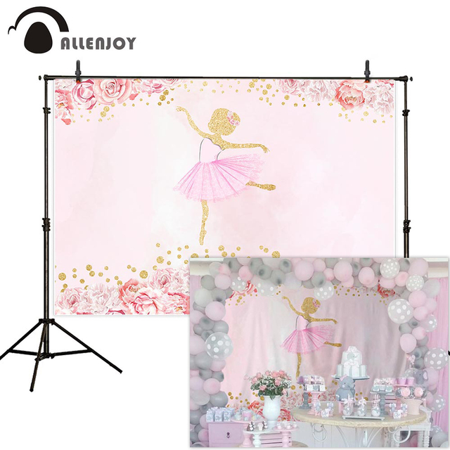 Allenjoy Flowers Ballet Girl Photography Backdrop Pink Birthday Baby Shower Newborn Backgrounds for Photo Photophone