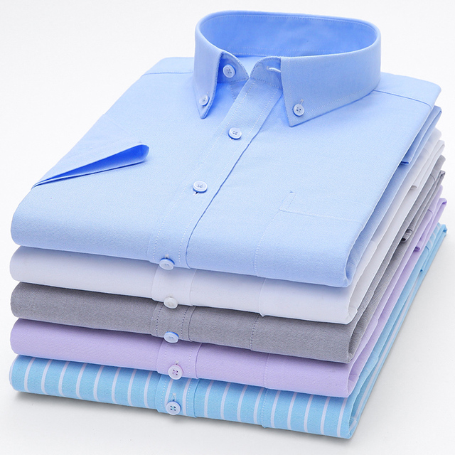 Striped Casual Short Sleeve Oxford Cotton Shirts 2