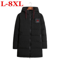 new plus size 10XL9XL windproof thick winter men's down jacket brand clothing hooded black long warm white duck down jacket male