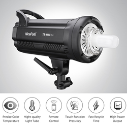 Nicefoto TB-600C Professionele 600W Studio Flash Light 5500K Strobe Verlichting Lamp GN90 Snelle Oplaadtijd 0.1-1.2 S Led Display