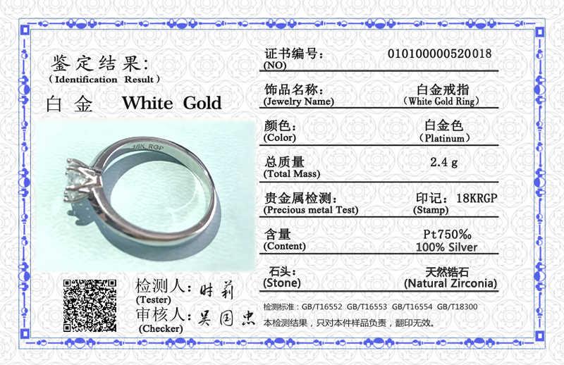 Yanhui Với Giấy Chứng Nhận Nhẫn Bạc 925 Giải Đơn 1 Carat Zirconia Nhẫn Đứng Kim Cương Nguyên Chất Vàng 18K PT Cưới Ban Nhạc Nữ tặng R018