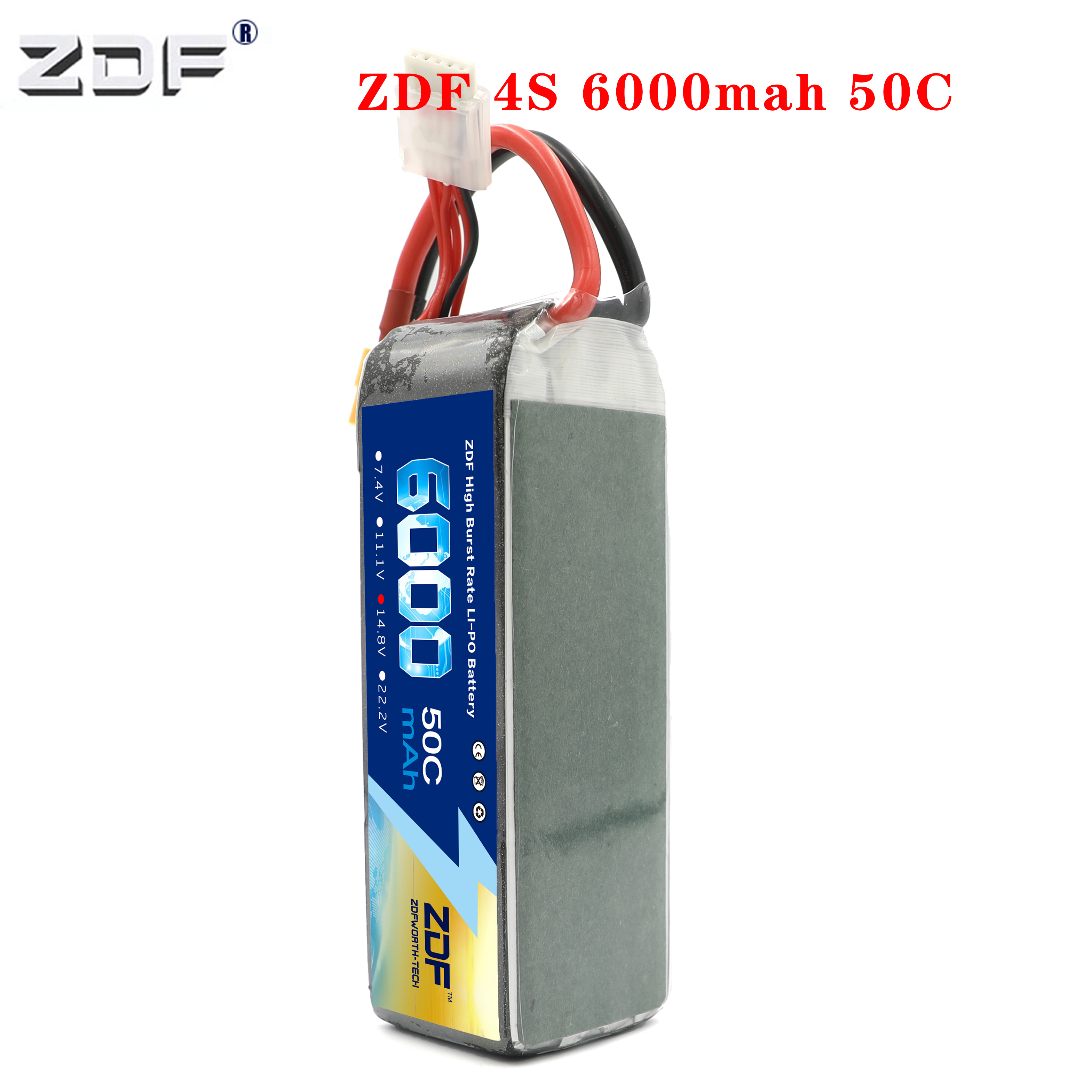 ZDF Power Rechargeable <font><b>6000mah</b></font> 50C <font><b>4S</b></font> 14.8v max100C <font><b>lipo</b></font> <font><b>battery</b></font> for RC racer car boat Trex-450 Fixed-wing Helicopter Quadcopter image