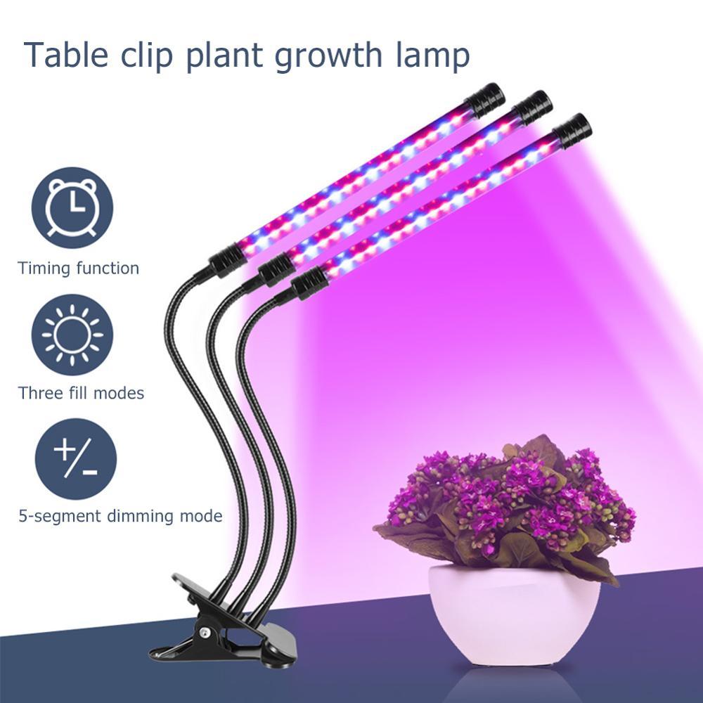 Waterproof 5 Dimmable Levels Plant Grow Light Full Spectrum Desk Clip Lamp Indoor Plants Seed Adjustable Gooseneck