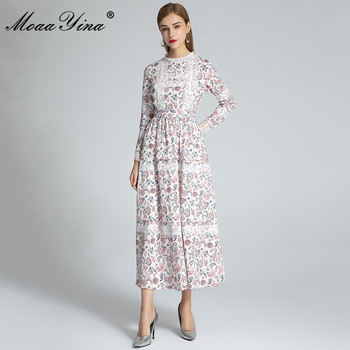 MoaaYina Fashion Designer dress Autumn Women's Dress Long Sleeve Floral Print Patchwork Lace Bohemia Vacation Slim Dresses moaayina fashion designer runway dress spring summer women dress spaghetti strap button floral print vacation beach dresses
