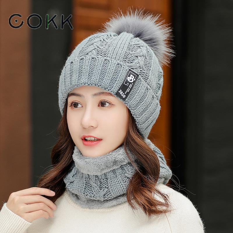 COKK Winter Hat Female Korean Knitted Woolen Velvet Thick Warm Ladies Hat & Scarf Collars Sets For Women Windproof Beanie