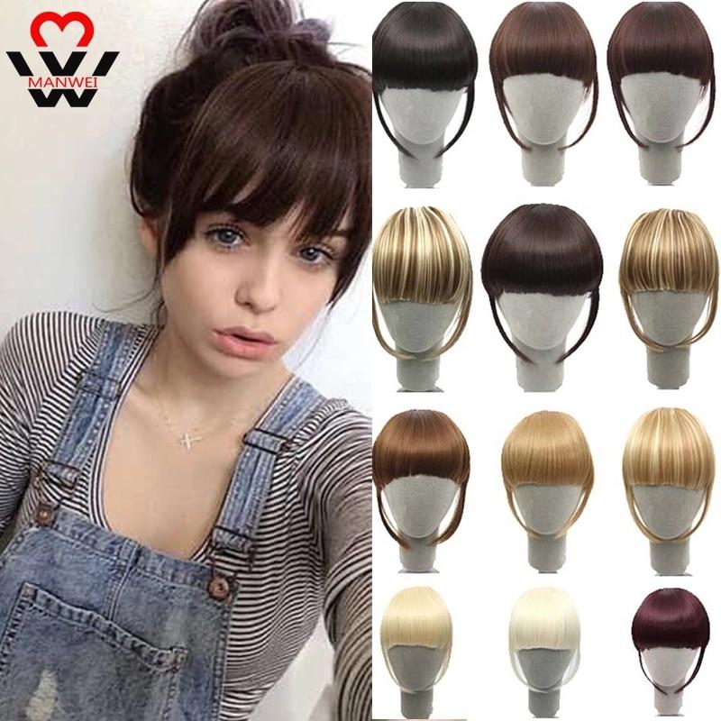 MANWEI черно-коричневые светлые накладные челки для наращивания волос с высокотемпературным синтетическим волокном