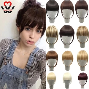 MANWEI Black Brown Blonde Fake Fringe Clip In Bangs Hair Extensions With High Temperature Synthetic Fiber