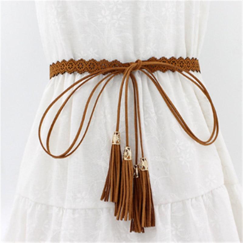 New Ladies Belts Fashion National Style Hollow Tassel Tie Strap Waist Chain Women's Waistband Dress Accessories