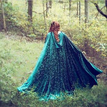 Woman Long Cloak Blue wedding shawls  Cape Warm in winter Wraps Jacket wedding accessories