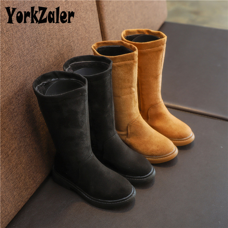 Yorkzaler Spring Autumn Kids Boots For Girl Martin Boots Children Black Suede Shoes Warm Ankle Boots Winter Toddler Baby Boots