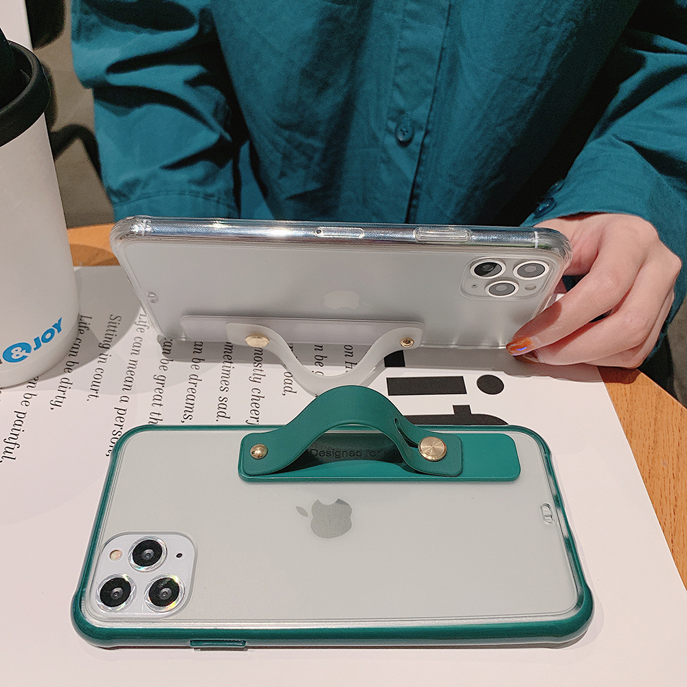 Clear Soft Transparent Standing Phone Case For iPhone Models With Wrist Strap Stand Back Cover 8