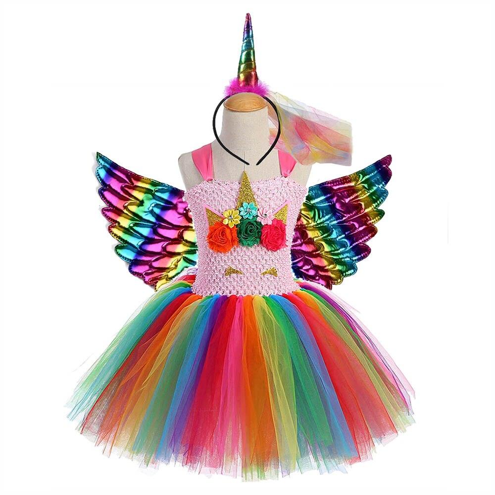 Image 4 - Rainbow Princess Children Unicorn Dress Girl Unicorn Christmas Tutu Dress Flower Girl Party Dress with Unicorn Headband Wing Set-in Dresses from Mother & Kids