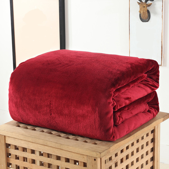 Air Conditioning Blanket Solid Color Coral Fleece Blanket For Bed Sherpa Blankets and Throws
