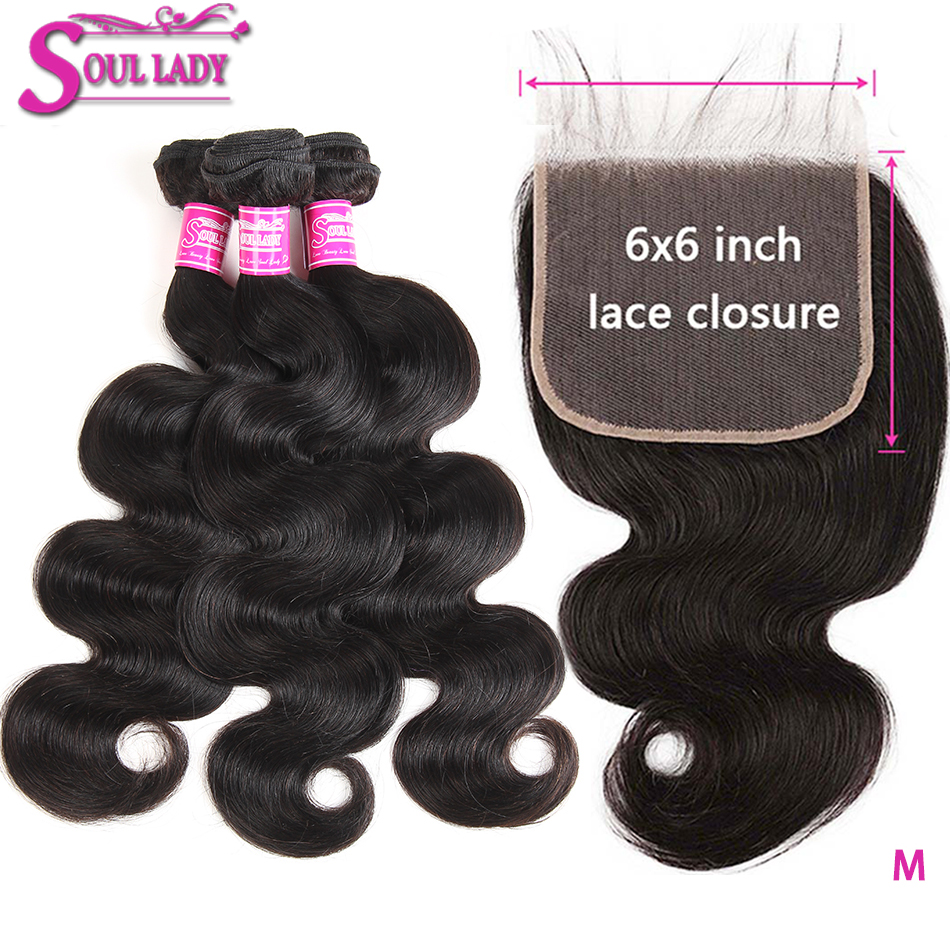 Soul Lady 6x6 HD Transparent Closure And Bundles Malaysian Hair Bundles With Closure Body Wave Remy Hair With Baby Hair Closure