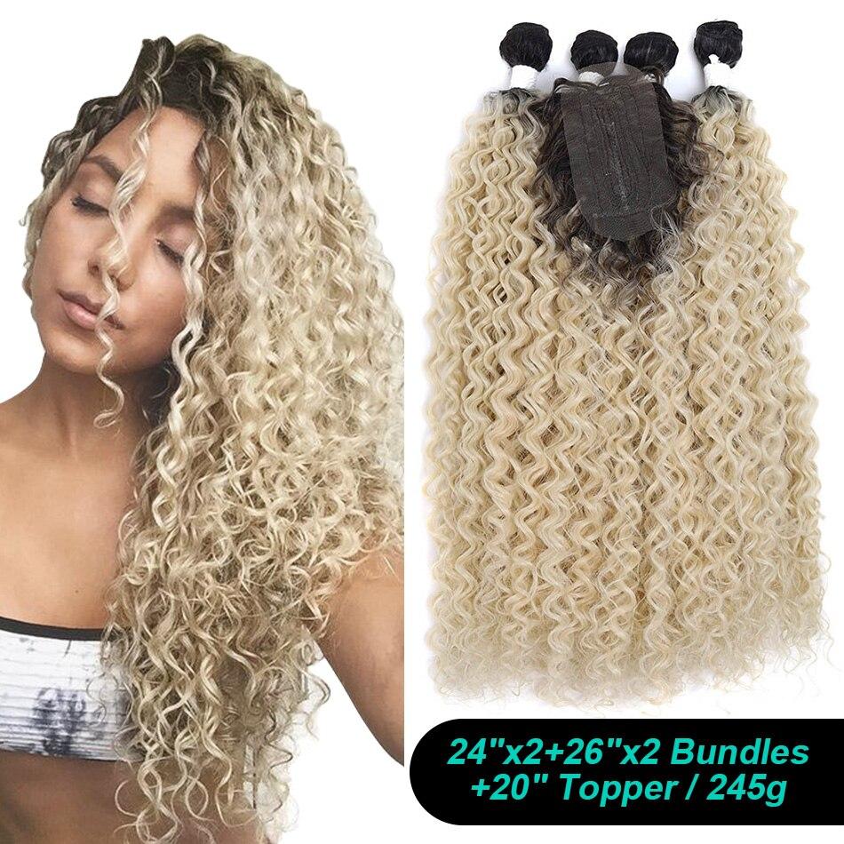 Синтетические вьющиеся волосы африканские Курчавые Волнистые Волосы пряди волос для наращивания с закрытием в африканском стиле 24