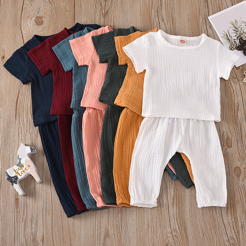 Infant Baby Boys Girls Clothes Pure Color Cotton Linen Short Sleeve Tops+Pants Summer Toddler Baby Boys Girls Clothing Outfit 1