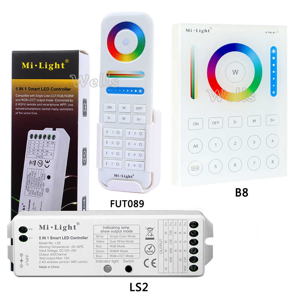 B8 Wandmontage Touch Panel;FUT089 8 Zone Afstandsbediening Rf Dimmer; LS2 5IN 1 Smart Led Controller Voor Rgb + Cct Led Strip Miboxer