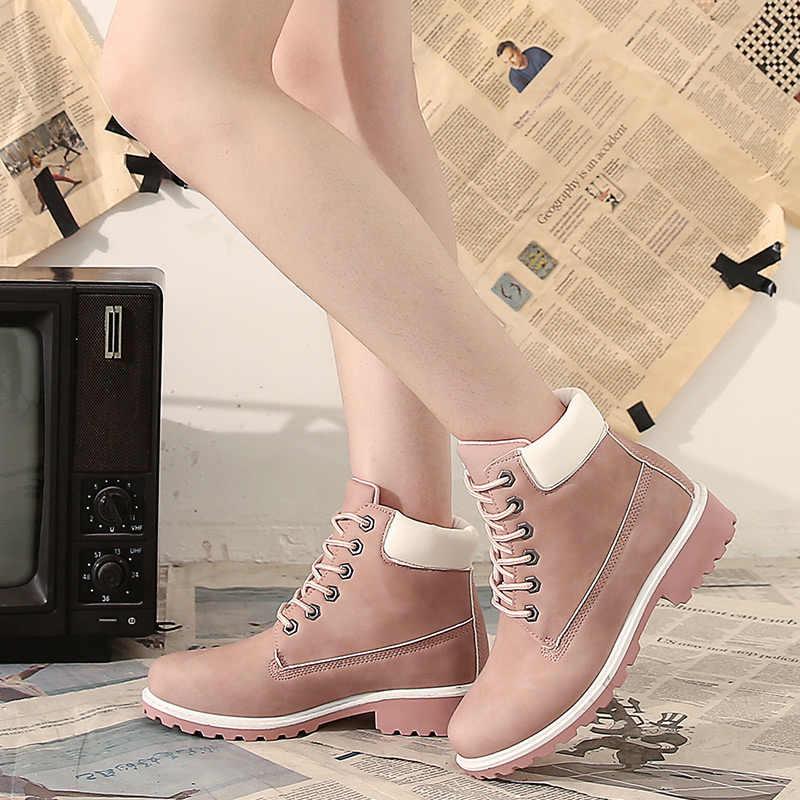 Sznurowane buty damskie skórzane buty platformy różowe buty damskie buty jesień Botas Cowboy Mujer moda kamuflaż kobiety botki