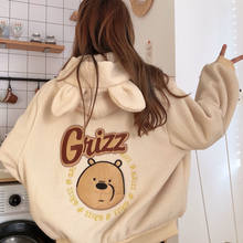 Outono inverno casaco com capuz doce urso impressão harajuku bolso solto hoodies das mulheres velo flanela pulôver camisola feminina