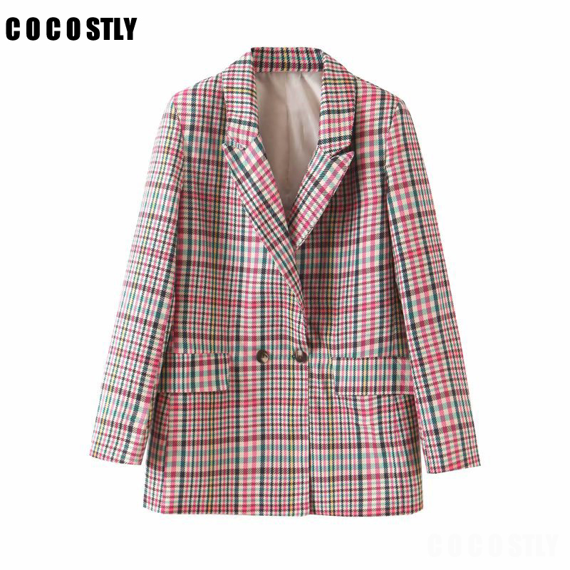 Woman Vintage Houndstooth Blazer Plaid Long Sleeve Double Breasted Office Lady Jacket Checked Coat Outerwear