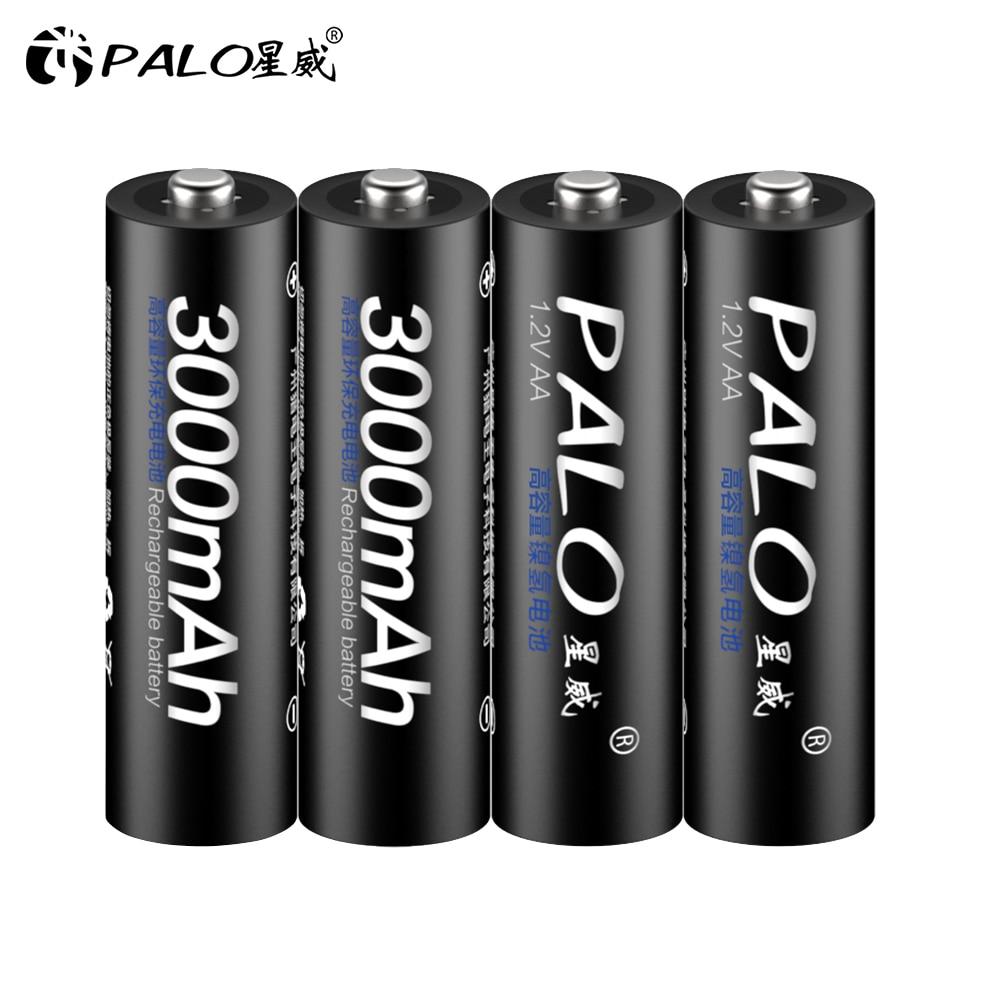 Pilas AA recargables para linterna de cámara, pilas AA de 1,2 V, 3000mAh, Ni-MH precargadas, 2a, 4 Uds.