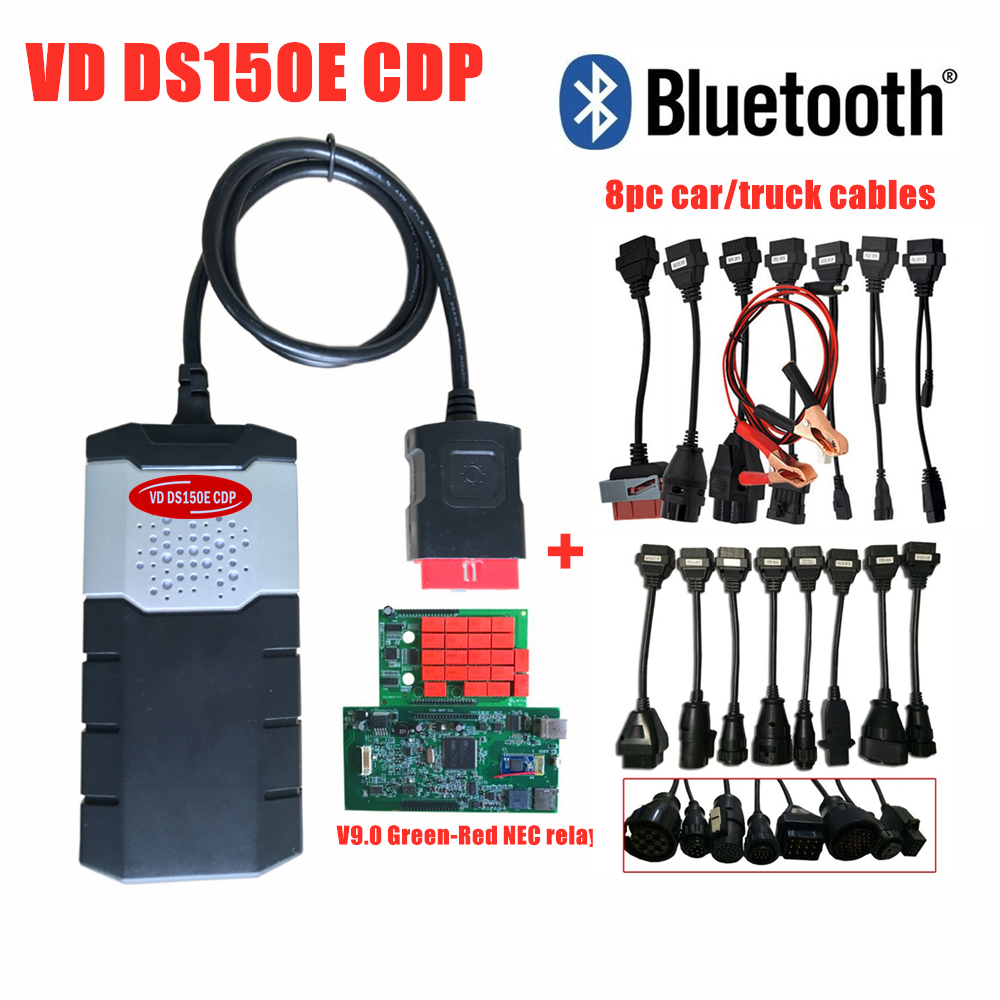 DHL FREE ship NEC relays green single PCB ds150e cdp for delphi autocom OBD2 scanner with bluetooth+16pcs car/truck cables