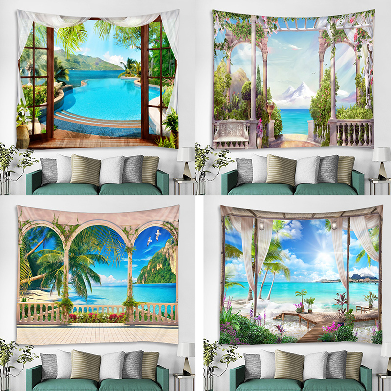 The Beautiful Scenery Outside The Balcony Window Background Decoration Cloth Digital Printing Tapestry Factory Direct Sales Can