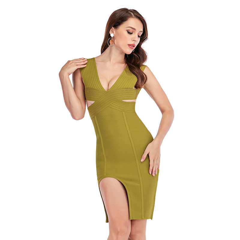 2019 New Bandage Dress Women Winter Sleeveless Knitted Sexy Deep V Neck Hollow Out Split Bodycon Cocktail Party Dresses Green