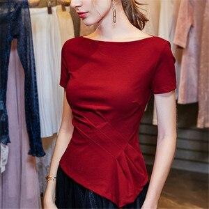 Rlyaeiz женские летние топы без Плеч, приталенные женские футболки с асимметричным подолом, формальные офисные женские футболки, топ, одежда