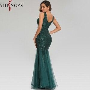 Image 5 - YIDINGZS ירוק שמלת ערב ללא שרוולים אלגנטי בת ים ארוך פורמליות המפלגה שמלת YD9682