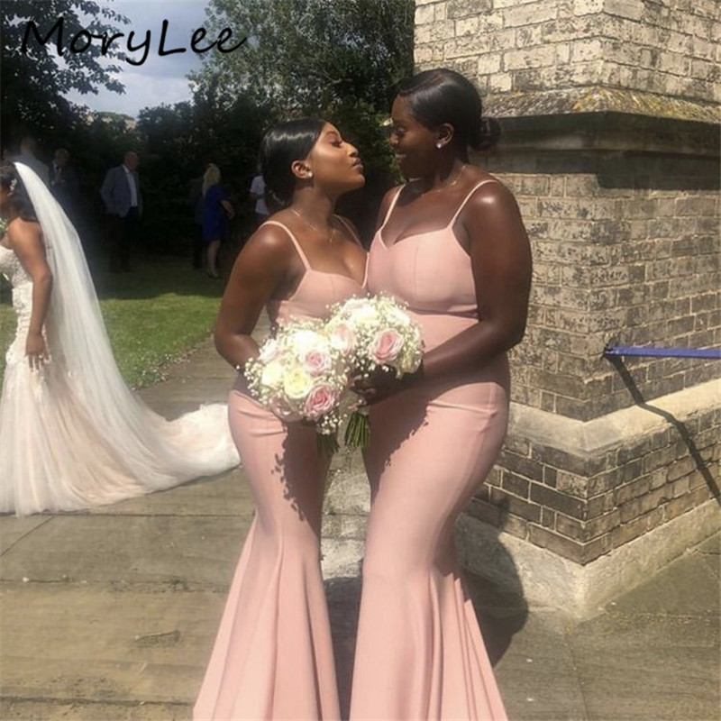 Pink Bridesmaid Dresses With Zipper Back Floor Length Silk Satin Mermaid Bridesmaid Dresses Wedding Party Bridesmaid Gowns