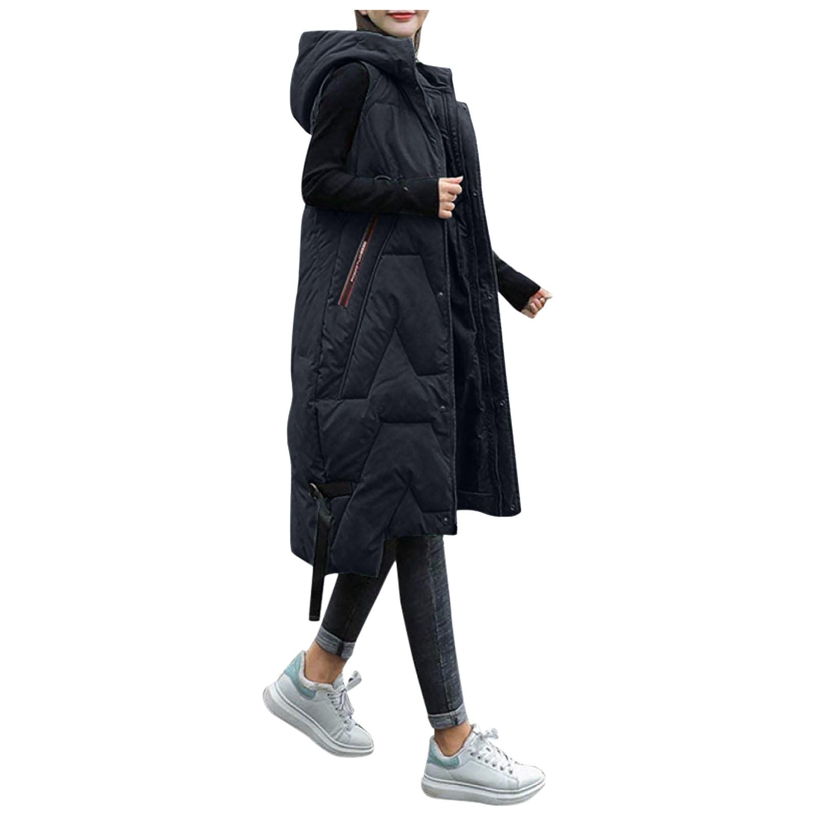 Autumn Winter Vest Women Waistcoat 2021 Female Sleeveless Vest Jacket Hooded Warm Long Vest Coat Plus Size Slim Warm Waistcoat