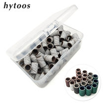 Hytoos 100 pçs/caixa bandas de lixamento sem mandril elétrica acessórios da broca do prego cuidados com as unhas polimento gel polonês remoção ferramentas