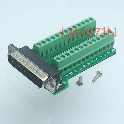 Tüketici Elektroniği'ten Pil Aksesuarları ve Şarj Aksesuarları'de DHL/EMS 20 ÇOK DB25 D SUB erkek 25pin port Terminali Breakout PCB başlığı 2 satır somunlu RS232  d2 title=