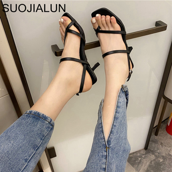 SUOJIALUN 2020 Summer Women Sandal Shoes Ankle Strap Heels Women Sandals Open Toe Chunky High Heel Party Dress Shoes 2020 new superstar genuine leather pointed toe ankle strap square heel women sandals high heels slingback summer party shoes